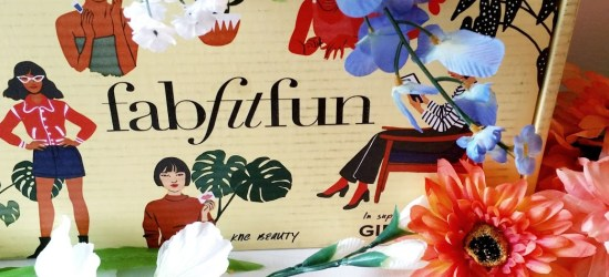 fabfitfun box surrounded by flowers