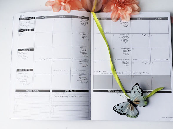 organizing a blog using a daily planner monthly layout