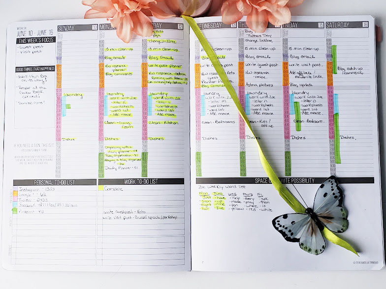 organizing a blog with a daily planner weekly layout