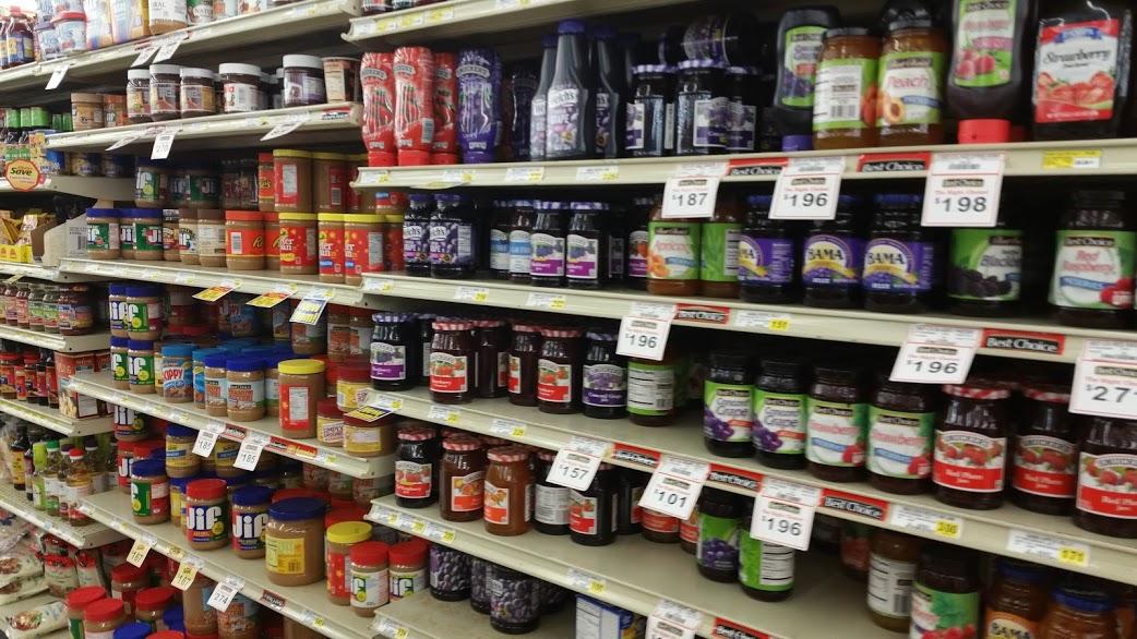 Saving Money grocery store aisle