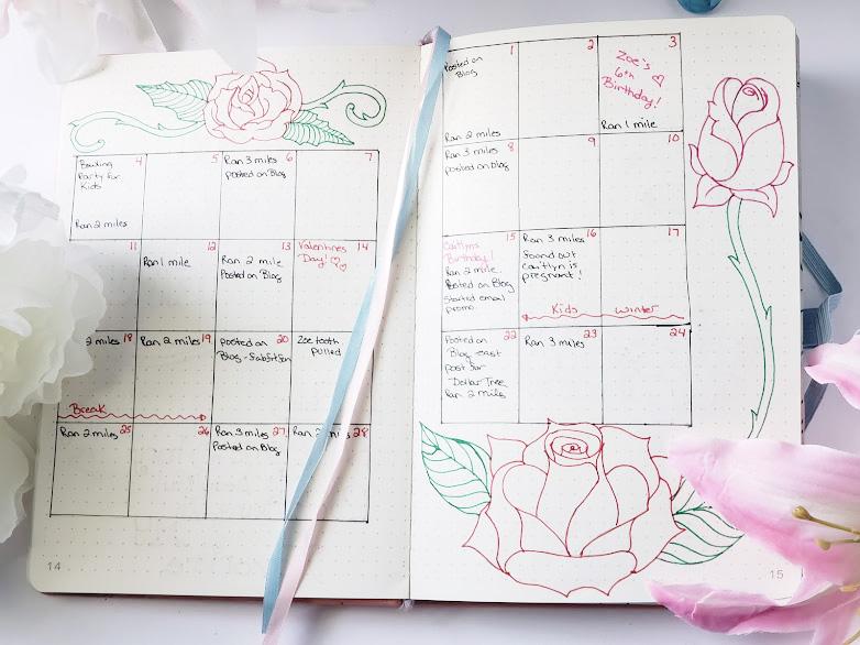 bullet journal themes - feb