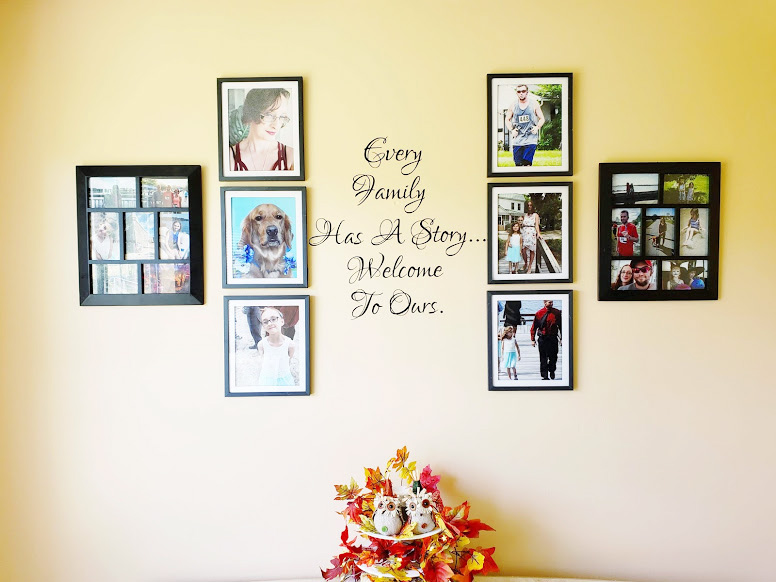 using wall decals to create a family photo wall
