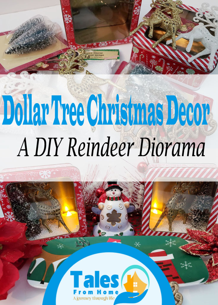 DIY Dollar Tree Christmas Decoration - A Reindeer Diorama #Christmas #Christmasdecor #dollartreechristmas #dollartreefinds @dollartreecrafts #diychristmas #christmascraft
