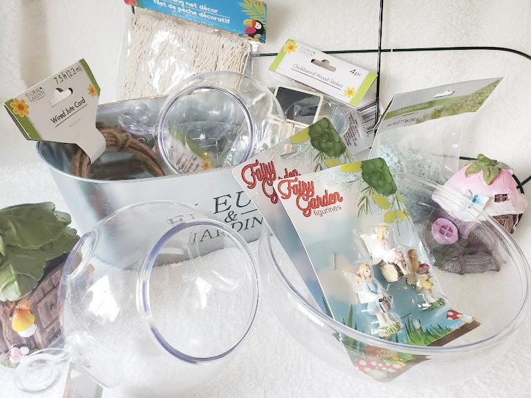 Supplies needed for a dollar store fairy garden