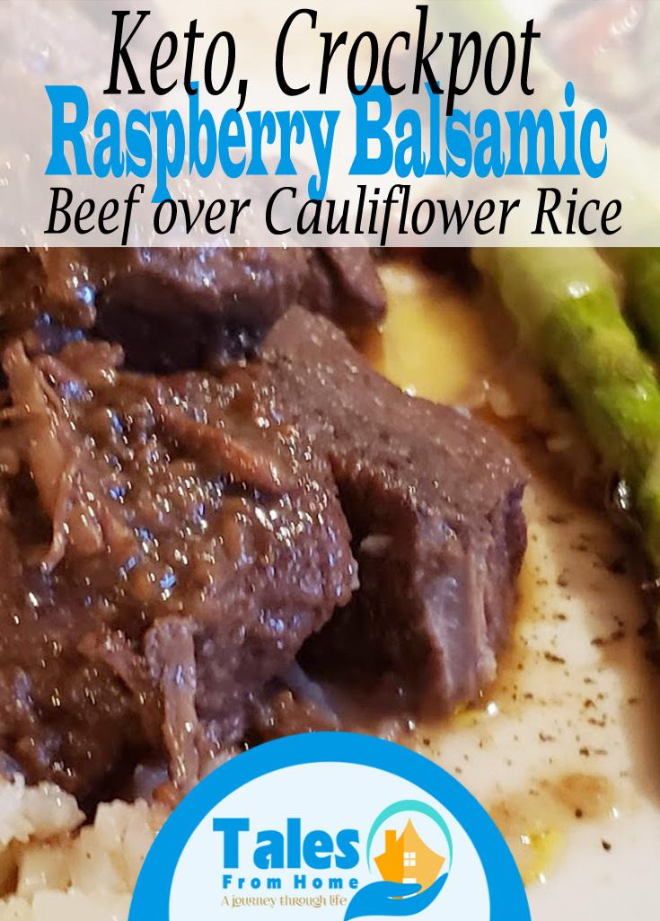 Keto Raspberry Balsamic Beef over Cauliflower Rice #keto #dinner #ketorecipes #ketodinner #ketobeef #lchf #lowcarb