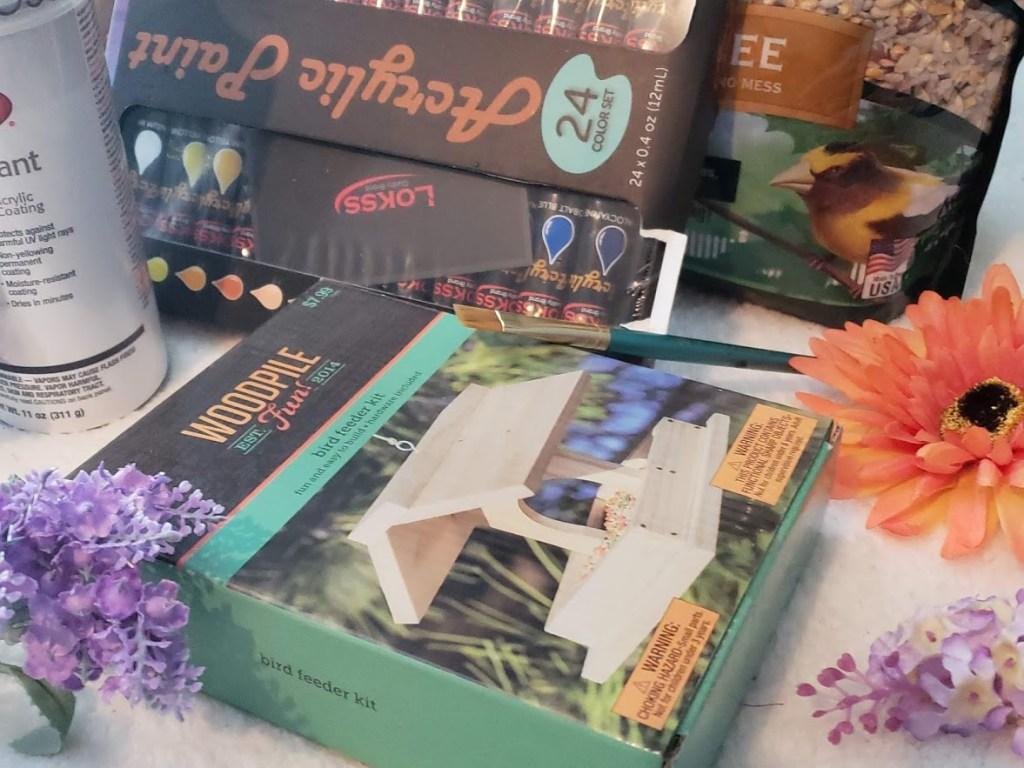DIY Bird Feeder Kit and supplies