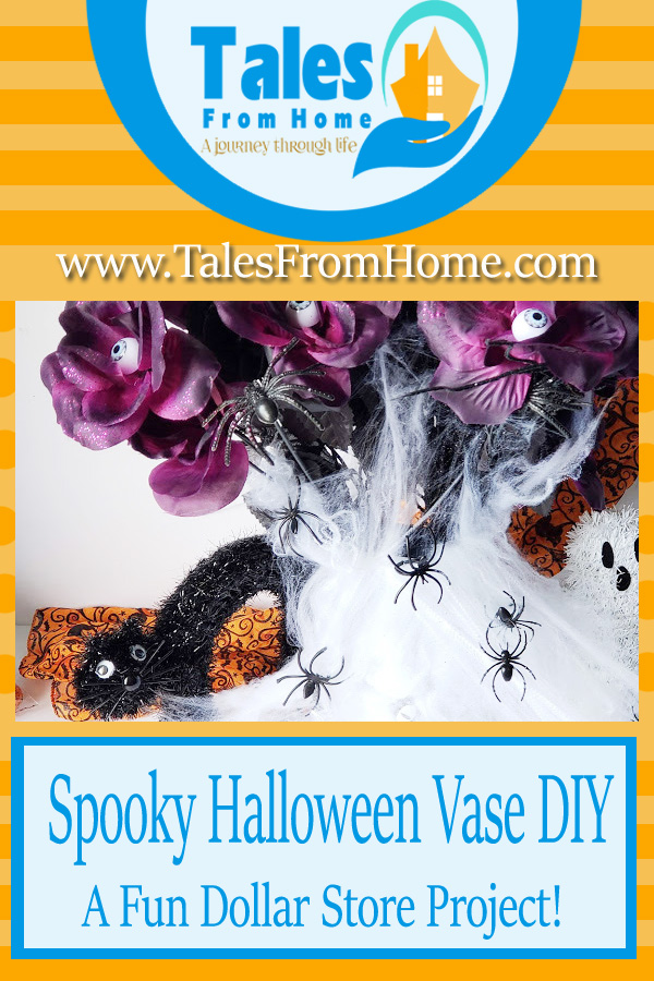 A Fun and Spooky Spider Vase From The Dollar Store! #Halloween #halloweencraft #seasonal #holidays #spookycraft #dollarstore #dollarstorecraft #crafts #DIYcraft #spidercraft