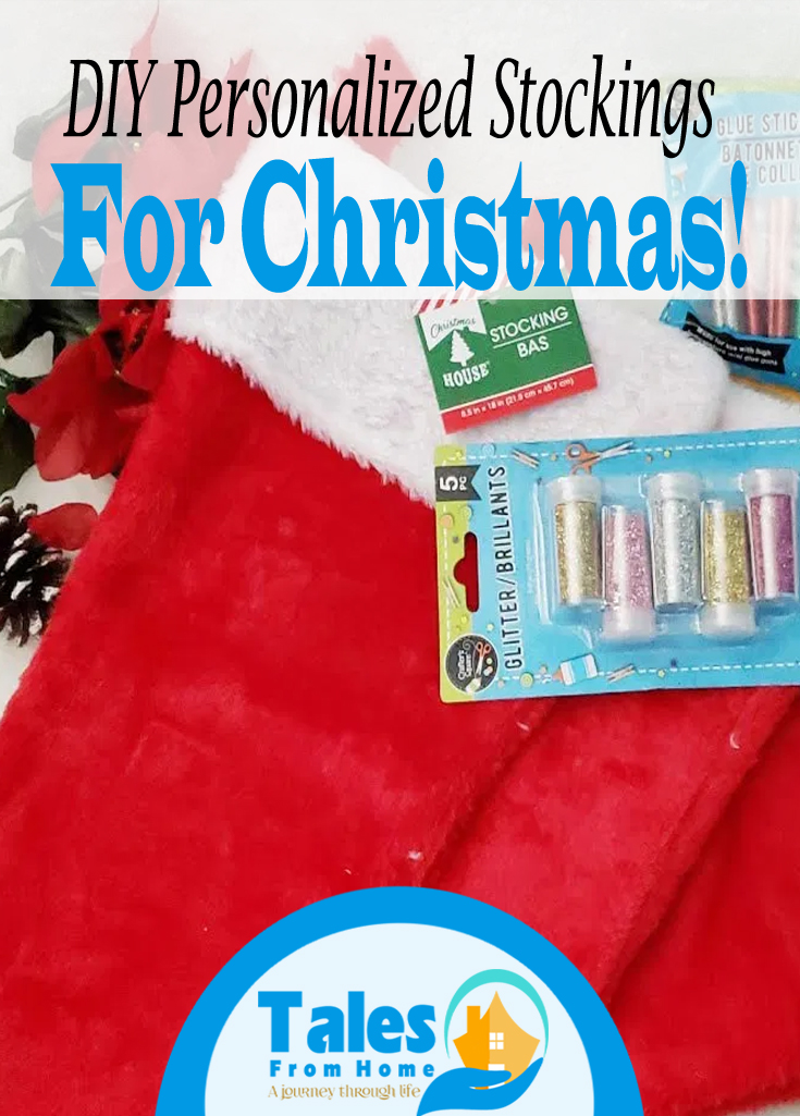 Simple and easy personalized stockings for Christmas! A quick visit to the dollar store is a great way to add a personalized touch to your Christmas décor! #Christmas #christmascraft #Stockings #DIY #Dollarstore #dollarstorecraft