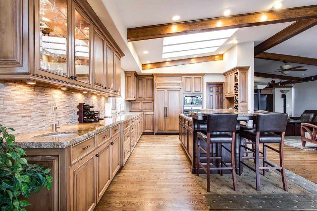 Image of a kitchen that blends old and modern interior design styles