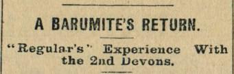 23rd March 1916 A Barumite's Return - headline