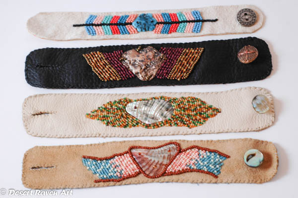 arstsy fartsy tuesday,beaded leather cuffs,bracelets