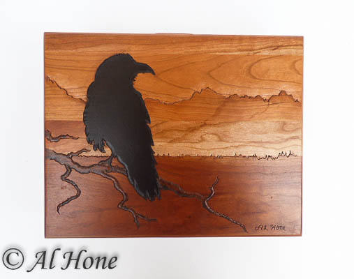 Wood box with Raven ,  Artsy Fartsy Tuesday