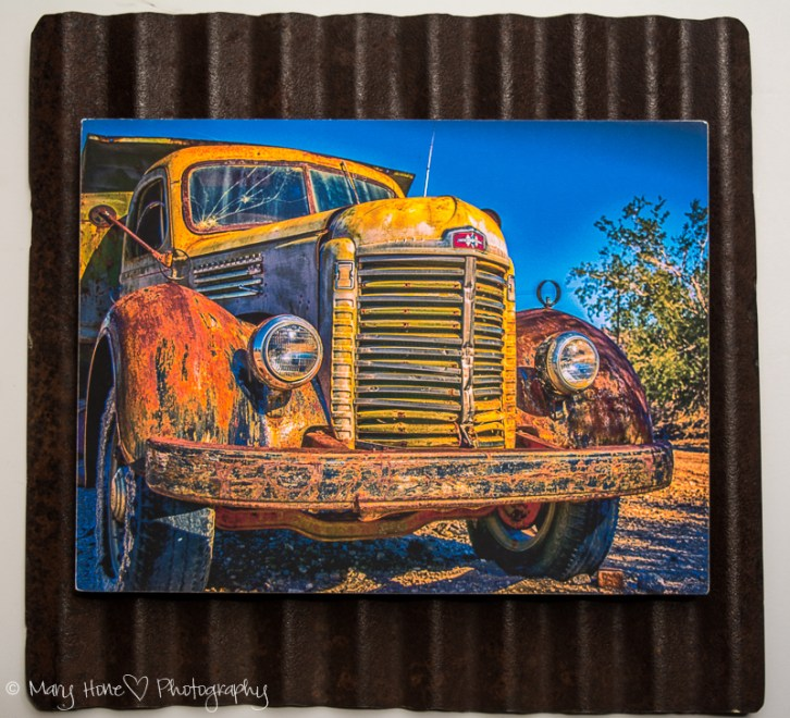 8 x 10 custom framed vintage truck on metal