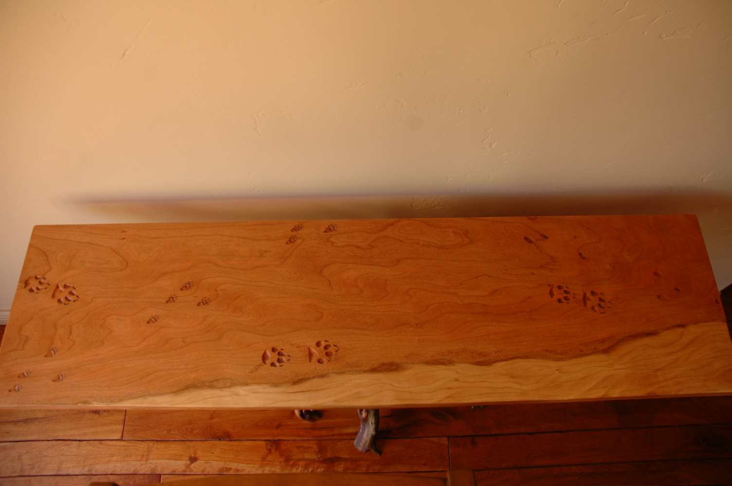 Juniper and cherry table with animal tracks- top