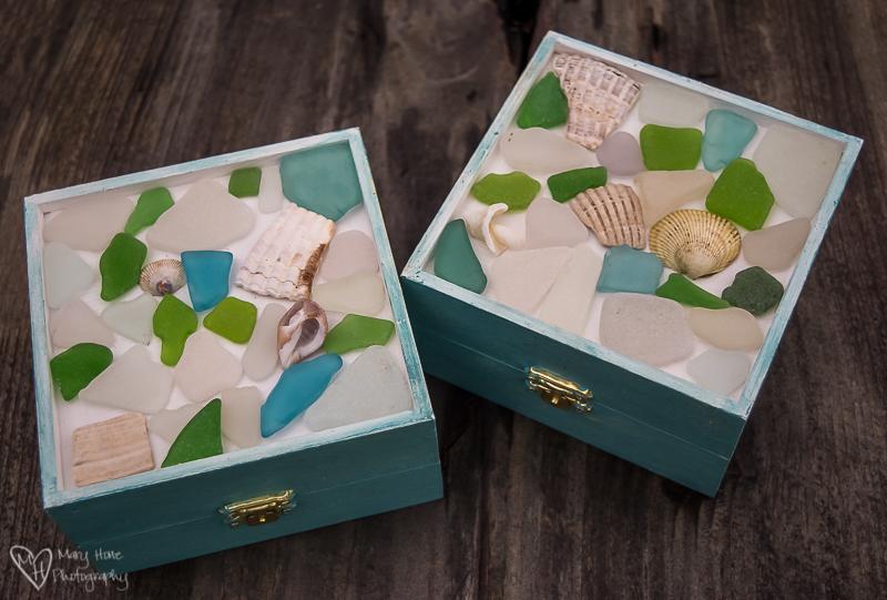 Sea glass mosaic on a box