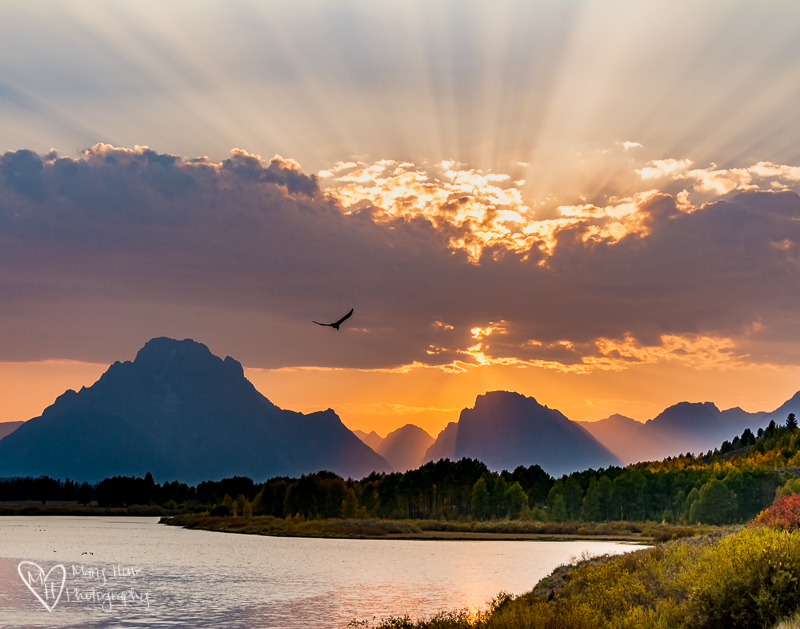 Sunset at Oxbow bend in Wyoming
