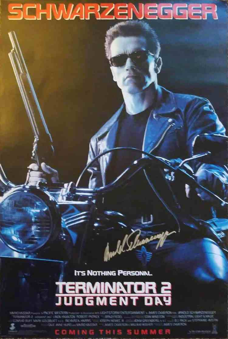 Terminator 2 Judgment day one sheet poster signed by Arnold Schwarzenegger.