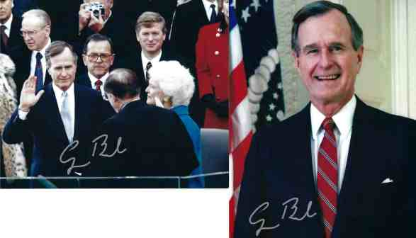 Autopens from President Bush signed on photos I sent. Both have identical signatures done with live ink.