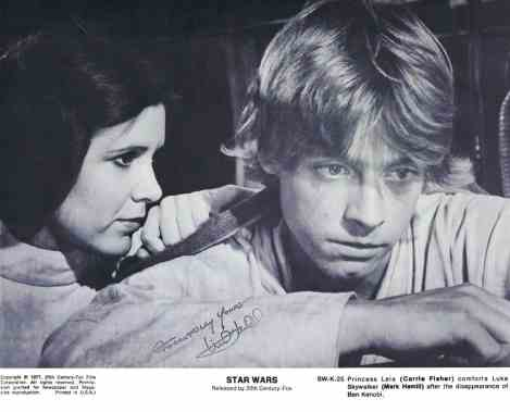 Stamped Mark Hamill signature on a Star Wars photo