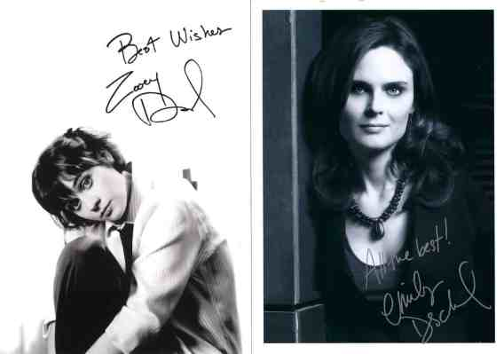 Autopen signatures from Zooey and Emily Deschanel.