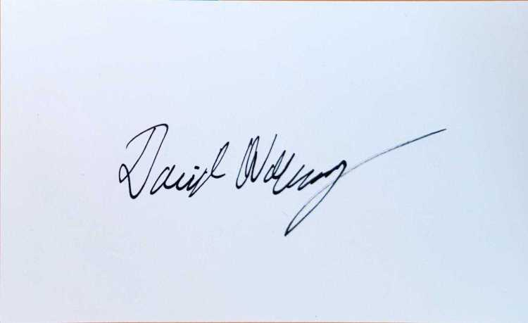 """Compositor for """"The Mandalorian"""" David Wahlberg signed index card."""