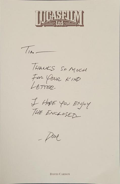 David Carson signed note