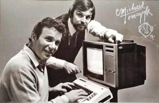 William Shatner and Michael Tomczyk. Photo signed by Tomczyk. Autograph and Tomczyk self portrait sketch.