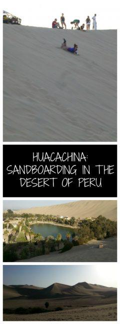 Sandboarding in Huacachina in the Desert of Peru