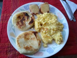 Arepas & Scrambled Eggs - Colombian Food at its Best!