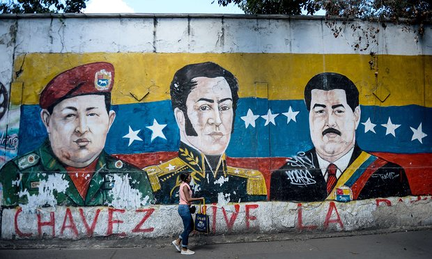 Mural of Cahvez, Bolivar and Maduro