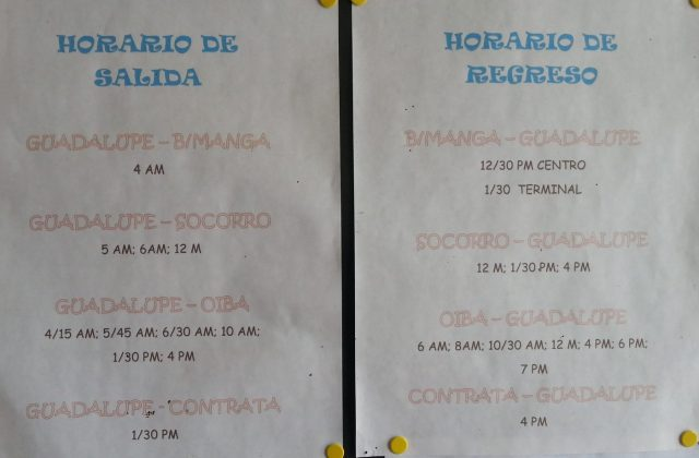 Jeep Bus Times to Guadalupe from Oiba
