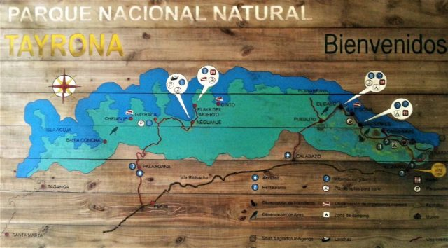 Map of Parque Tayrona National Park
