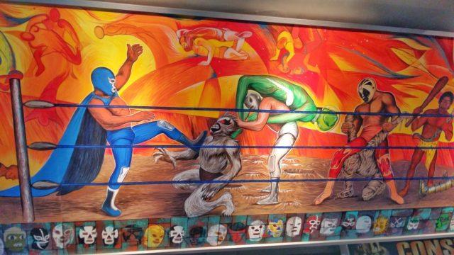 Mural Showing luchadores - Lucha Libre Mexico City
