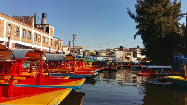 Rows of Trajinera boats await customers in Xochimilco