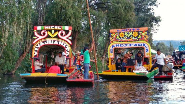 Colourful Trajinera boats at Xochimilco