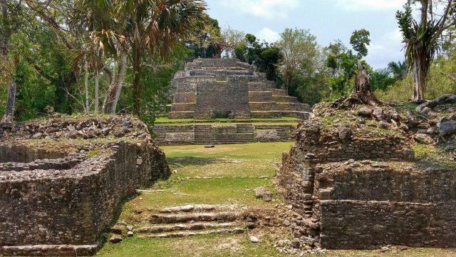 The Jaguar Temple at Lamanai in Belize, Mayan Ruins