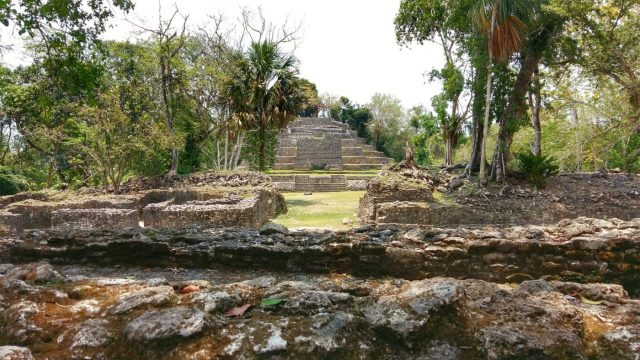 The Jaguar Temple at Lamanai in Belize, Mayan Ruins