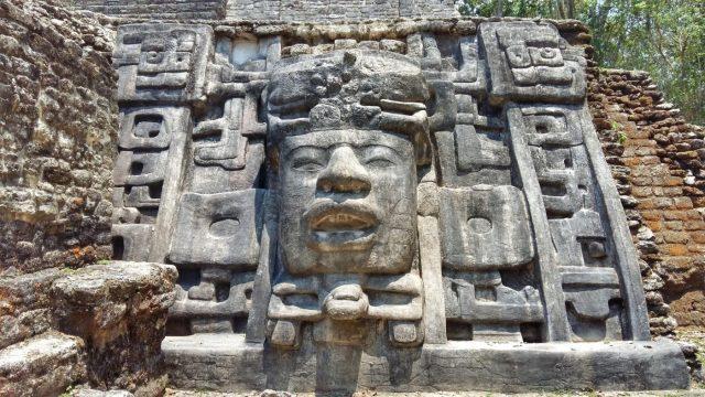 The Mask Temple at Lamanai Mayan Ruins in Belize