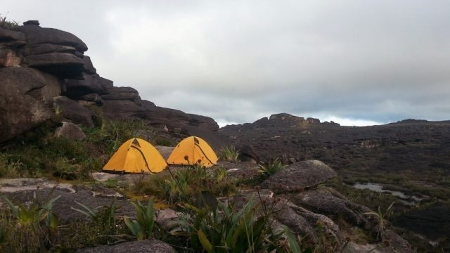 Our tents pitched on the rocky surface of Roraima, exposed to the cold wind! Venezuela