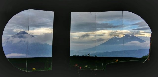 The incredible view I woke up to, from my Hobbit Hole in Hobbitenango Antigua Guatemala