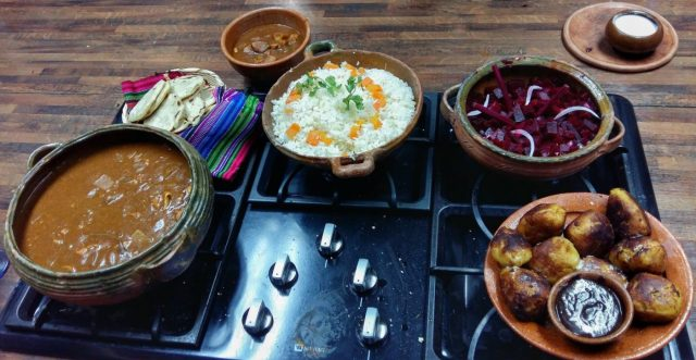 We proudly laid out our Guatemalan dishes before we ate! - cooking guatemalan food in Antigua