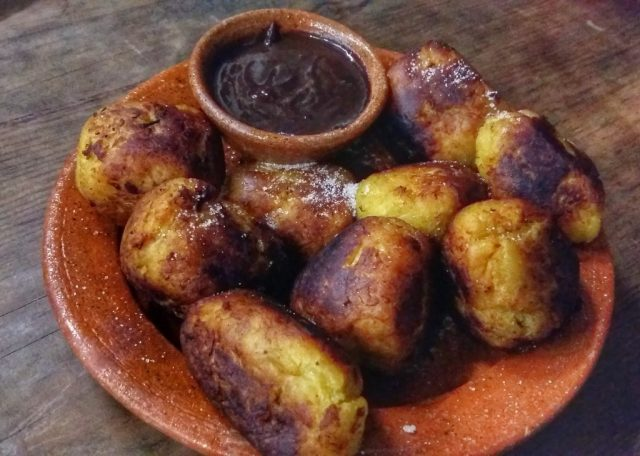 Delicious rellenitos with chocolate sauce! I loved my Guatemalan cooking class in Antigua, at La Toritilla cooking school antigua