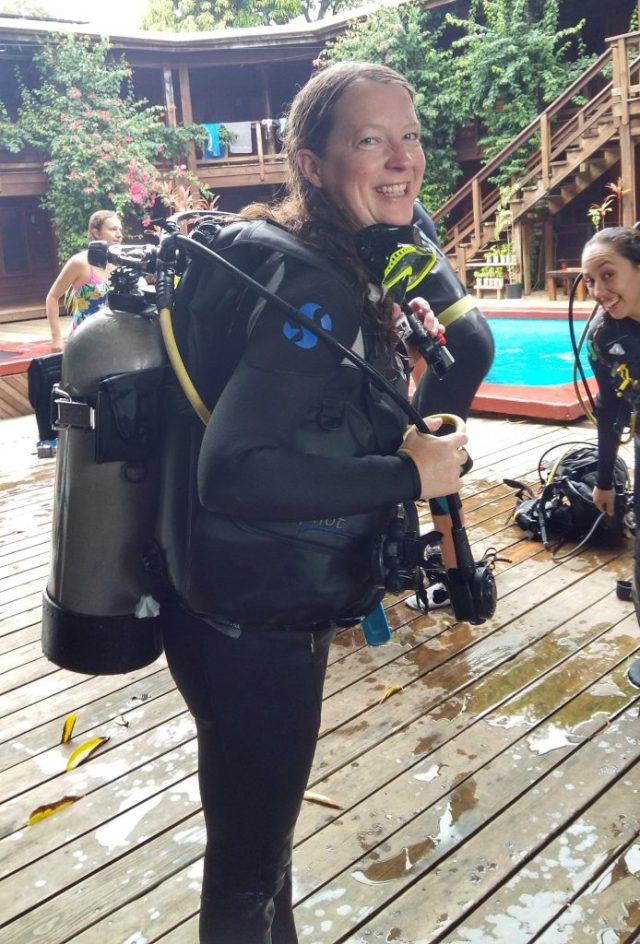 Relieved after my first diving session with Utila Dive Center