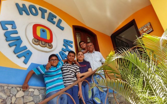 The wonderful family who run the Cuna Maya Hotel in Copan - Ivan, Enelda, Gabriel, Ivan & Pablo