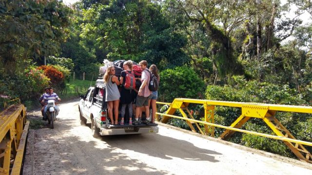 The 4x4 Transport from Oiba to Guadalupe - In Colombia it's always an adventure!