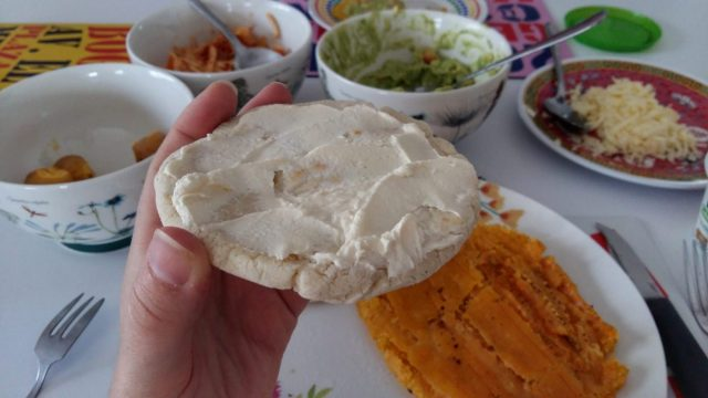 Delicious arepas with cream cheese - part of the menu on my cooking class with 5 Bogota - what to in Bogota