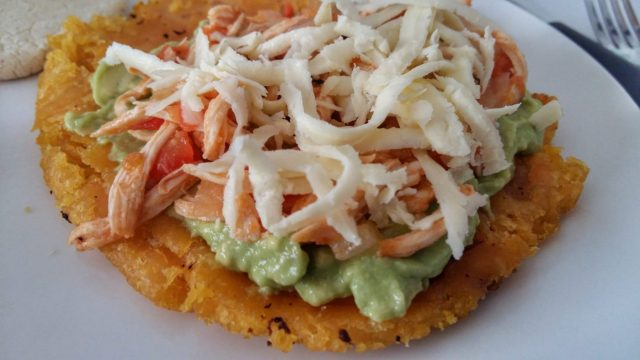 patacones with guacamole, ahogao and cheese - part of the cooking class with 5 Bogota - what to in Bogota
