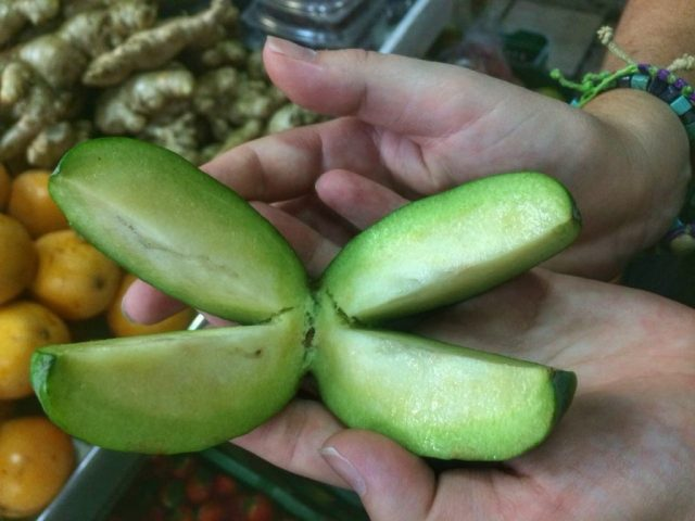 Tasting fruits in the market - part of the cooking class with 5 Bogota - what to do in Bogota