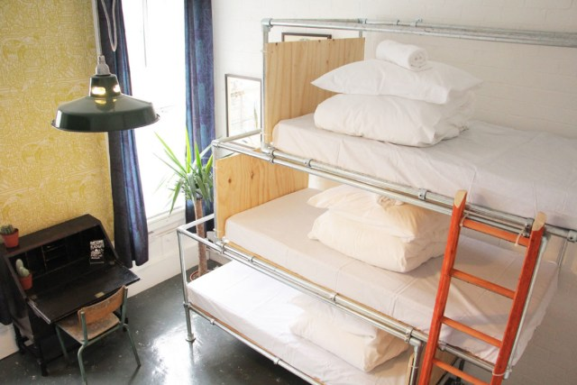 Fred Dibnah Suite Dorm Room with triple bunk beds, where I stayed. Photo Credit Art Hostel Leeds