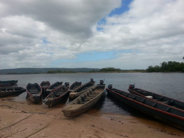 Motorized Canoes for our journey to Angel Falls Venezuela